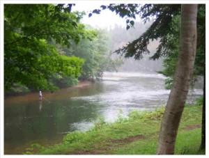 Salmon fishing the Hatchery Pool on the Margaree River